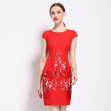 Buy hot sale Pencil Dress plus size 2017 new spring summer Slim Embroidery dress fashion XL Women Clothing flowers party dresses red for $51.30 in AliExpress store