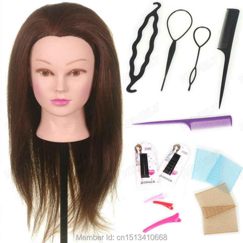 22quot; 90% Real Hair Training Salon Mannequin Doll Head