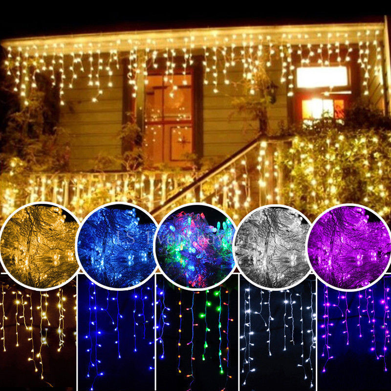 Christmas Outdoor Decoration 3.5m Droop 0.3-0.5m Curtain icicle string led lights 220V New year Garden Xmas Wedding Party,EU PLU(China (Mainland))