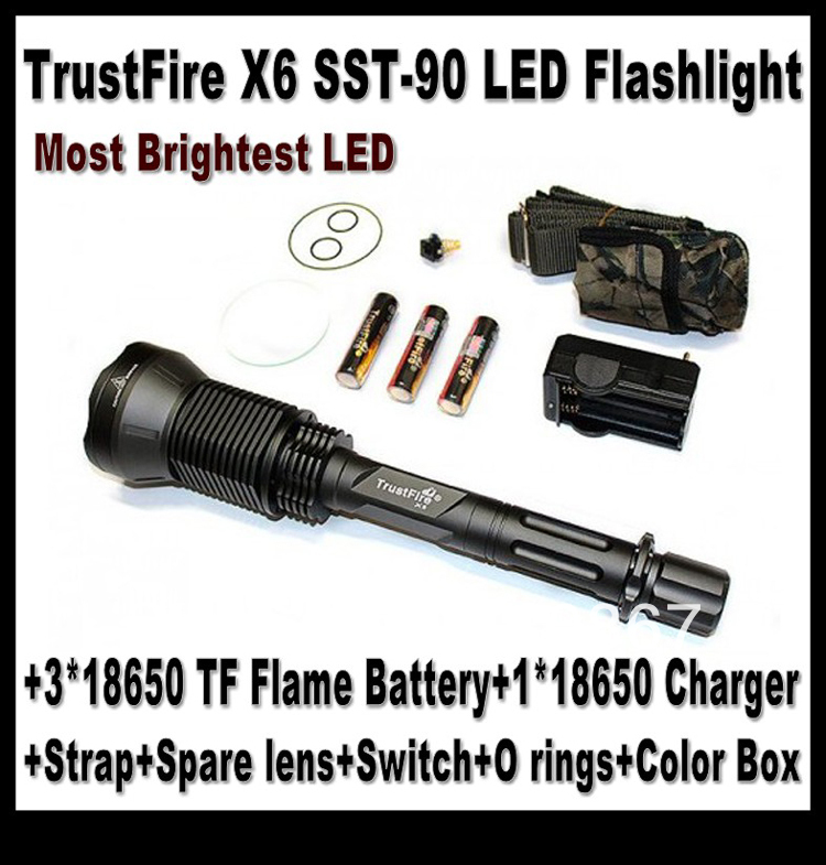 Chrismas Gift,Trustfire X6 long range Flashlight,2300 LM SST-90 LED+3*18650 Battery+2*Charger+Strap+Spare Lens+Switch+O rings(China (Mainland))