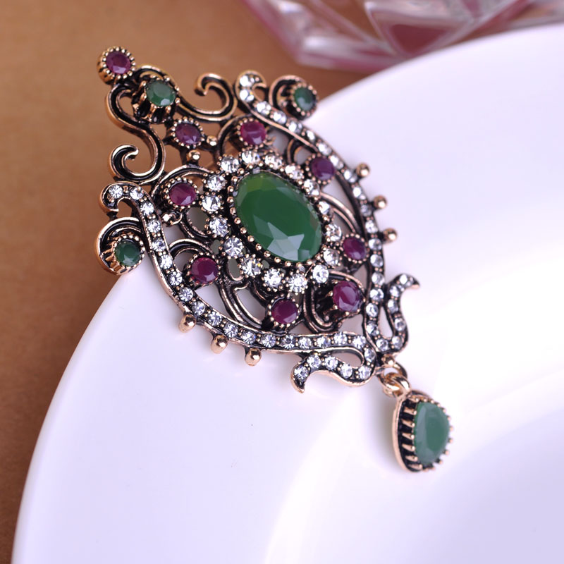Newest Vintage Royal Design Crown Brooches Corsage Hat Accessories AntiGold High Quality Crystal Hijab Pins Bijouterie Bijoux uk(China (Mainland))