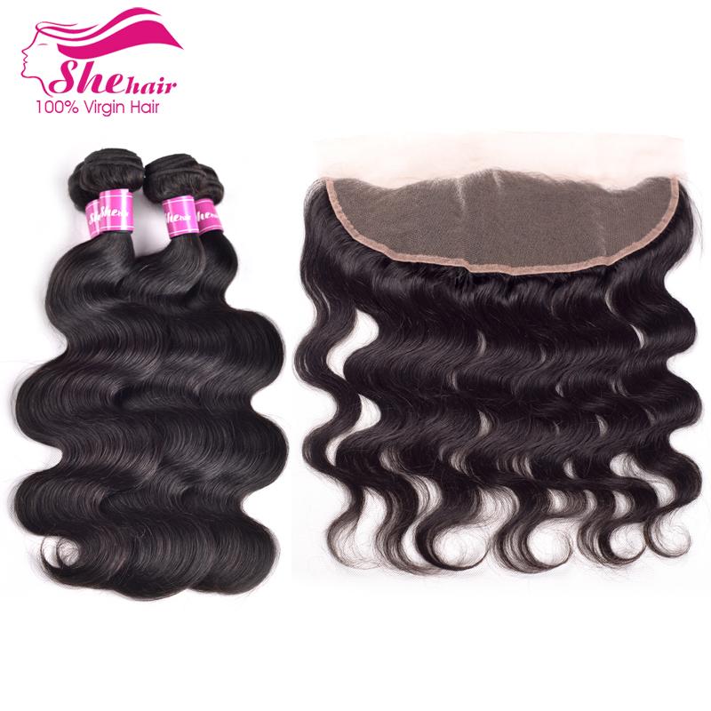 Brazilian lace frontal closure with bundles ear to ear full frontal lace closure13x4with bundles Brazilian virgin hair body wave<br><br>Aliexpress