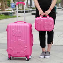 14+20,24Inch Hello Kitty Suitcase,trolley Travel Bag Set,Spinner Rolling Luggage Sets,ABS,Cartoon,Travel bags women(China (Mainland))