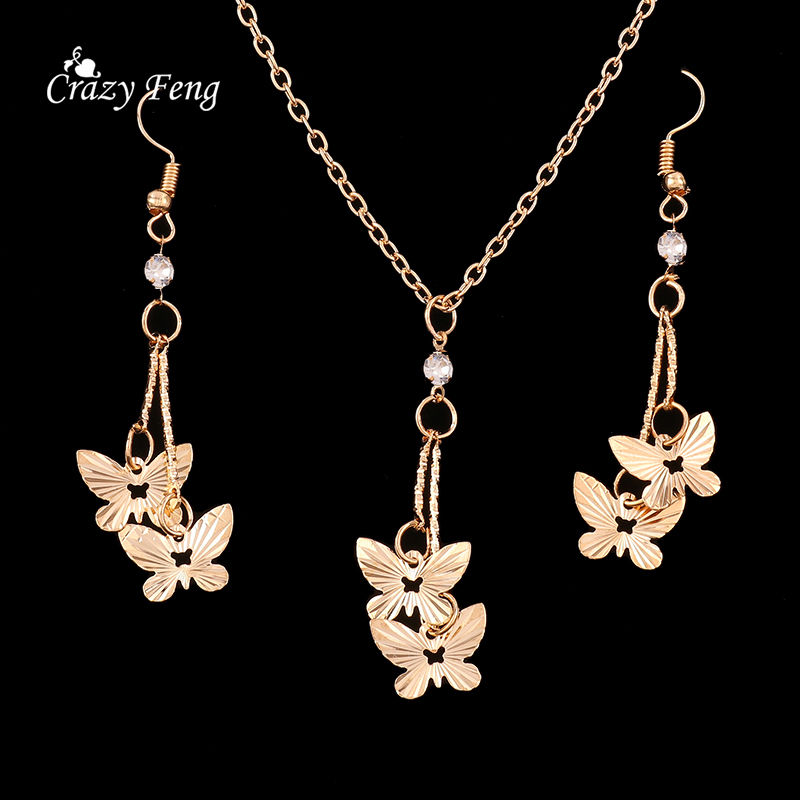 New Butterfly Women 39 S Fashion Jewelry Set Necklace Earrings Gold Plated Wholesale Wedding