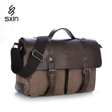 Men's Canvas Leather Belt Handbags Vintage Leather Briefcase Laptop Shoulder Bags Causal Outdoor Cross body Bags 1169(China (Mainland))