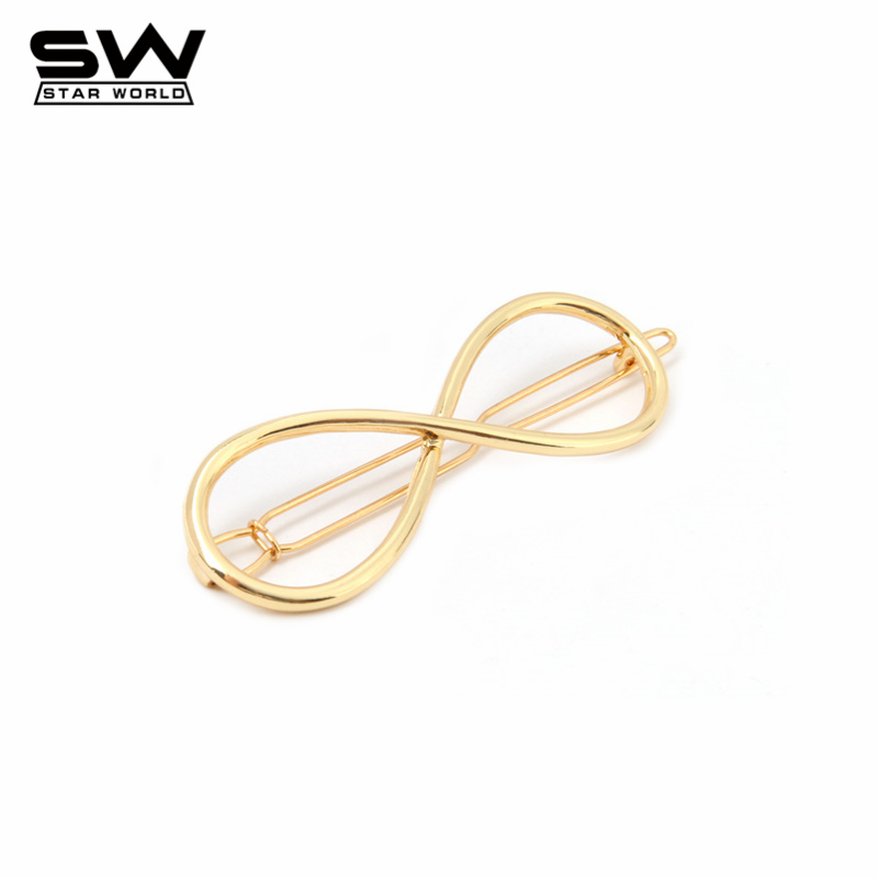 STARWORLD Fashion Gold metal 8 Shaped Infinity Lucky Hair pins Hairclips Accessories Jewelry Gifts F034(China (Mainland))