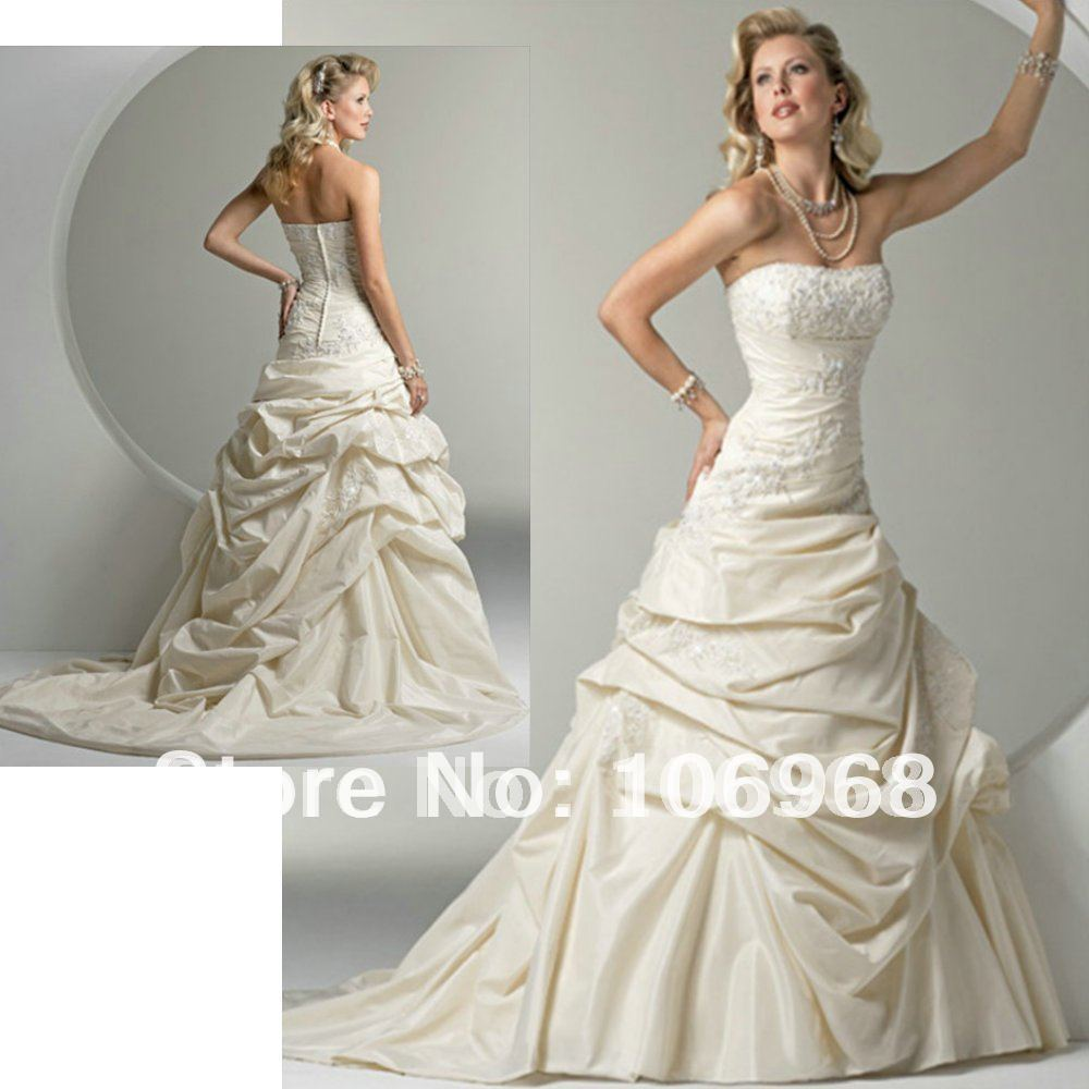 Free shipping wholesale a line strapless taffeta mermaid for Custom mermaid wedding dress