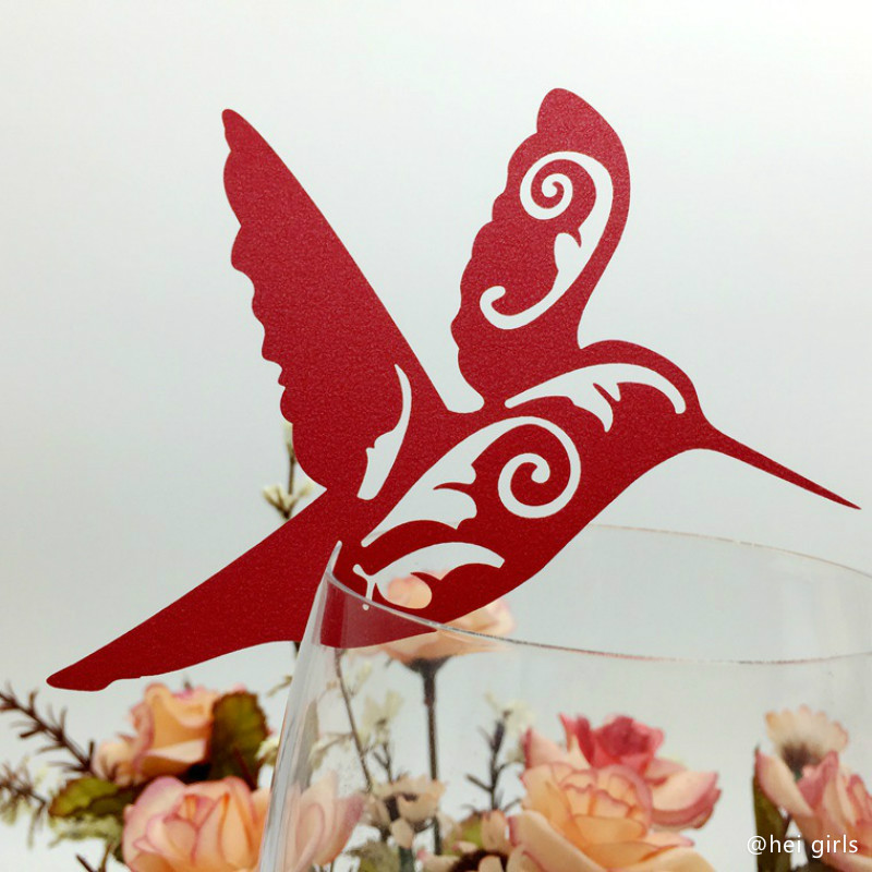 100pcs/set Hollow Birds Wedding Invitations Cup Cards Seat Card Wedding Decoration Supplies For Business/Party/Birthday 7Z(China (Mainland))