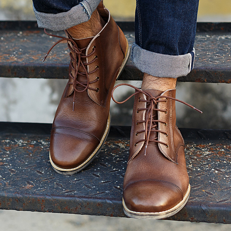 The new spring and summer fashion handmade leather men's shoes retro Martin boots comfortable size Western Boots Free Shipping(China (Mainland))