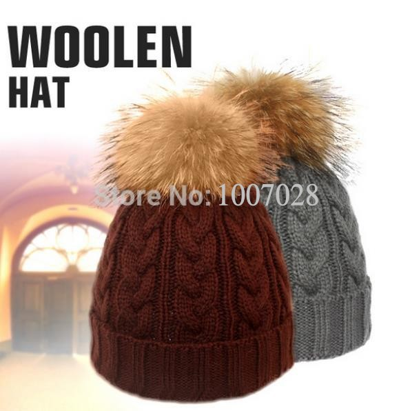 2014new Knitted beanie & caps with real fur balls BIG pattern fur hats for women and men caps(China (Mainland))