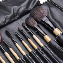 Professional 12pcs Face Makeup Brush Set with Black Leather Bag Make Up Brushes Free Shipping Wholesale