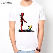 Kawaii Deadpool Tshirt Bonito T-shirt Streetwear Impressão de Desenhos Animados Harajuku Vento Moda de Algodão dos homens Em Torno Do Pescoço Roupas Casuais(China)