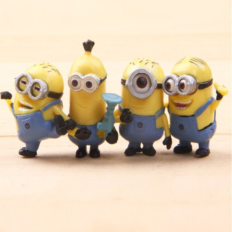 Free shipping New Cute 4pcs/set Despicable Me 2 Action Fiuger toys PVC Best Gifts and Collections Retail(China (Mainland))