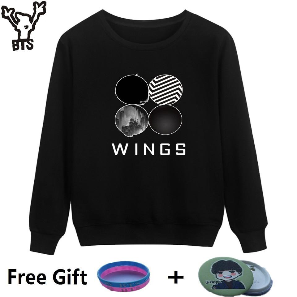BTS Kpop Sweatshirt Women Korean Popual Bangtan Boys Autumn Winter BTS Women Hoodies Sweatshirts Wings Hip Hop Casual Clothes(China (Mainland))