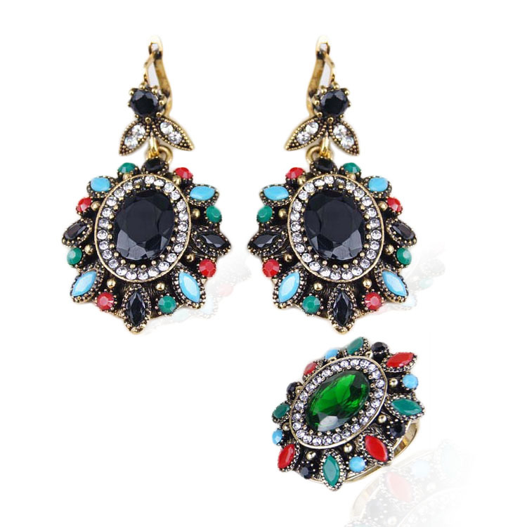 2015 vintage look earrings and ring jewelry sets 18k gold for Man made sapphire jewelry