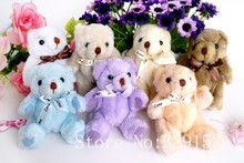 H-13cm lovely  Bow-Tie Stuffed Jointed Teddy Bear Gift Flower Packing Teddy Bear 9 color  12pcs/lot(China (Mainland))