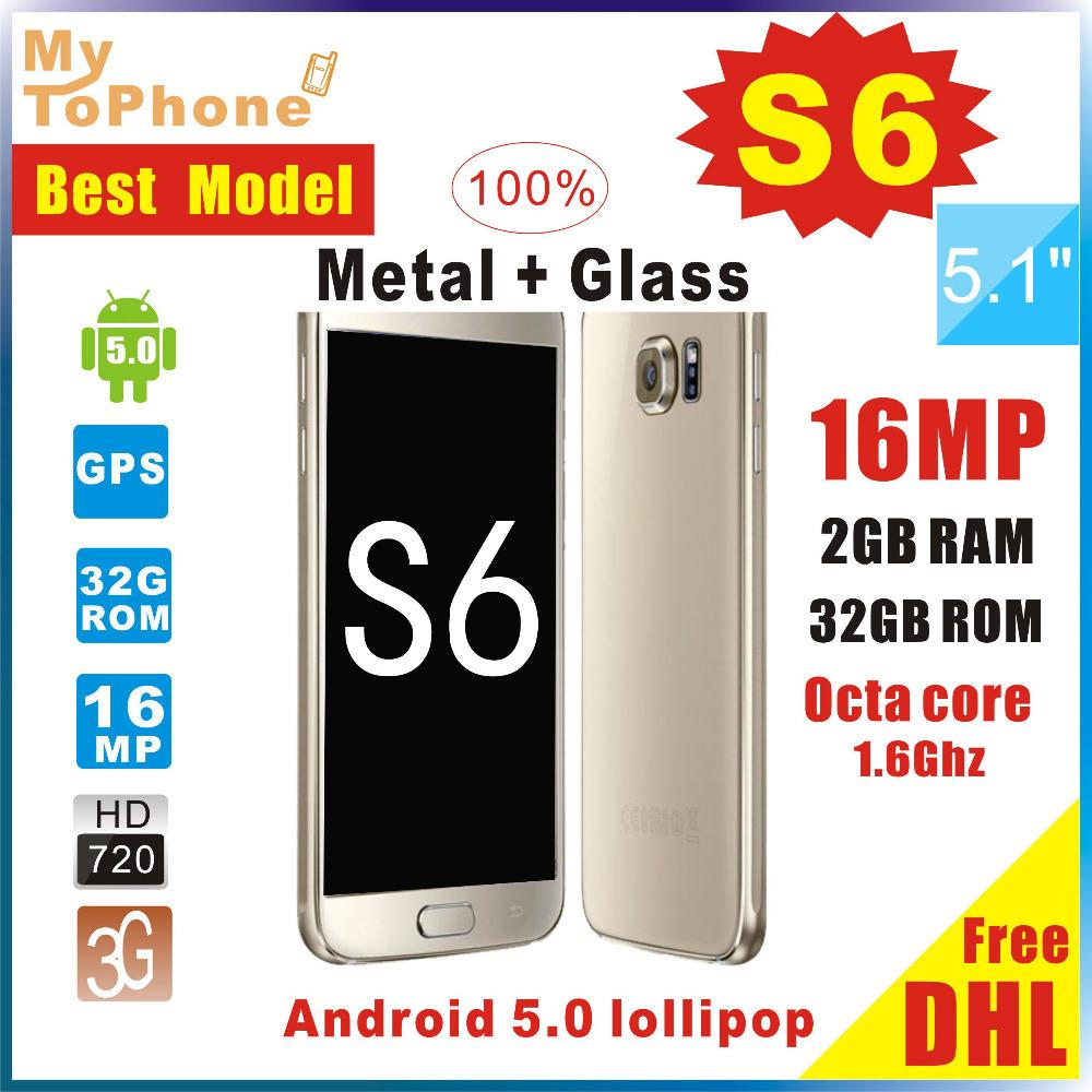 Free DHL Best Version Gold S6 G9200 G920F Android 5.0 lollipop Octa core MTK6592 3G RAM 64G ROM Fingerprint 16MP Smart phone(China (Mainland))