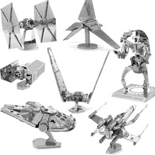 Star Wars DIY 3D Metal Puzzle Model Toy For Children/Adult Cartoon Robot X-Wing R2-D2 Tie Fighter Model(China (Mainland))