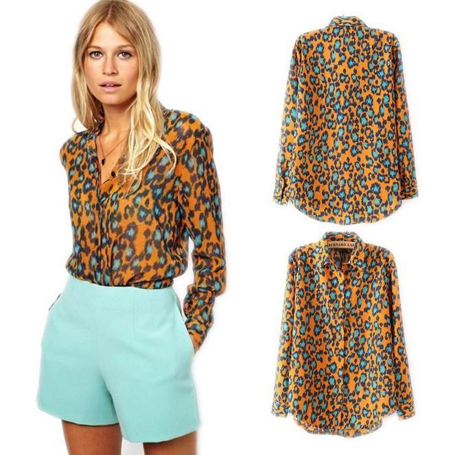 Женские блузки и Рубашки Leopard 2015 Prined Blusas Femininas blouse женские блузки и рубашки summer blouse blusas femininas 2015 roupas s