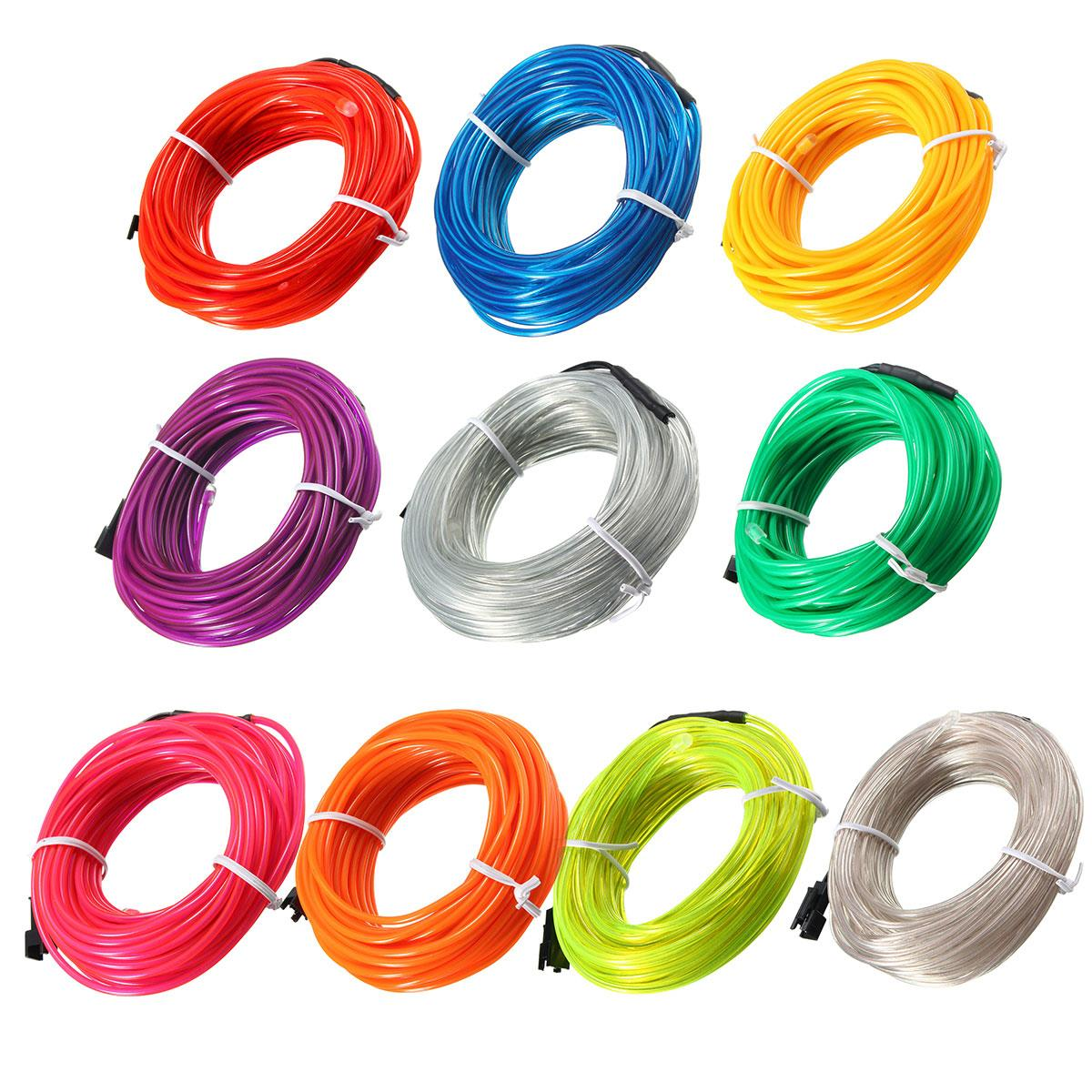 1/2/3/5/10M 12V Auto Car Interior Led Flexible EL Wire Rope Tube Cable Strip Neon Glow Party Light Decoration 10 Colors(China (Mainland))