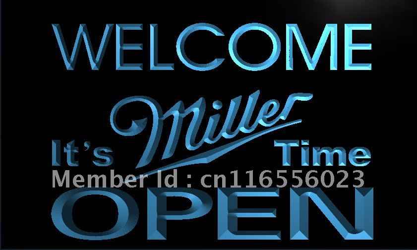 LA070- Welcome It's Miller Time Beer OPEN Neon Sign home decor shop crafts(China (Mainland))