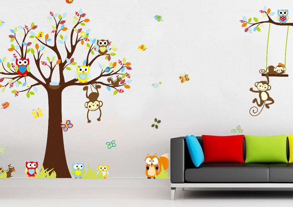 Cute Colorful Animal PVC Removable owl and monkey play in the nature of Wall Stickers Hot Selling Wall Decals For Home Decor