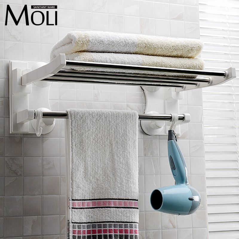 Bathroom accessories wall mounted suction cup single layer bathroom towel rack with bar and hooks plastic towel holder(China (Mainland))