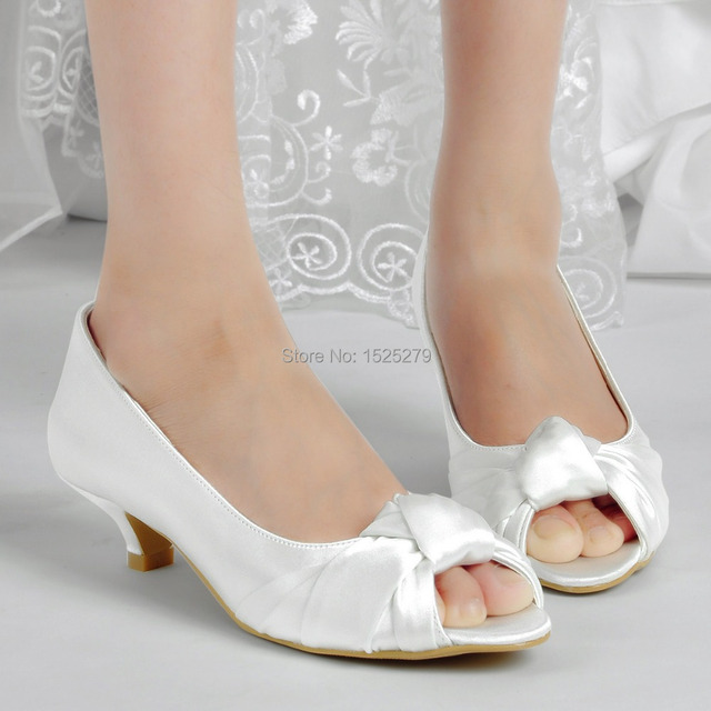 Fast Shipping EP2045 US Ivory White Women Bridal Party Low Heels ...