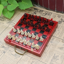 Professional International Chess Game Version Wooden Chess Standard Folding Educational Antique terracotta chess pawn Wholesale(China (Mainland))