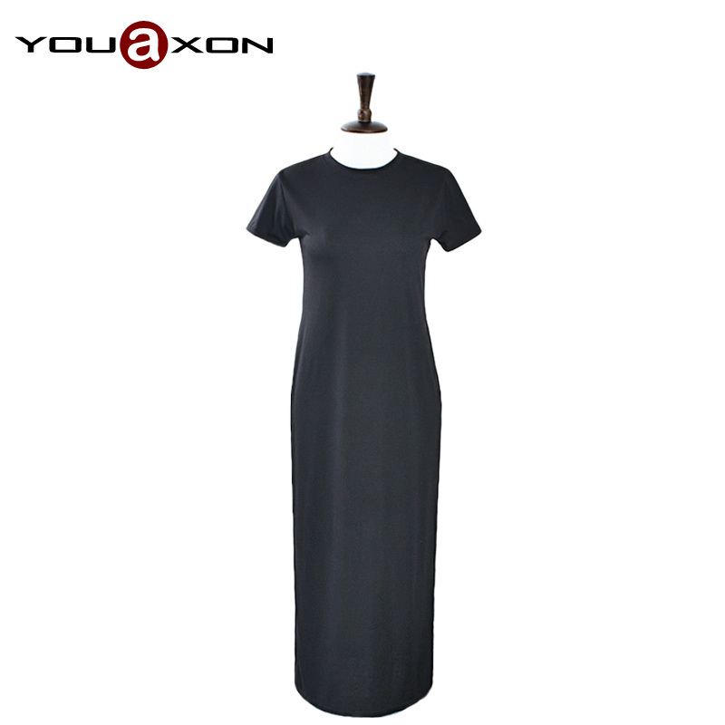 1579 YouAon Free Shipping Casual Cotton Blends Short Sleeve Side Split White Black Long Tee T shirt Dress for Women Dresses(China (Mainland))
