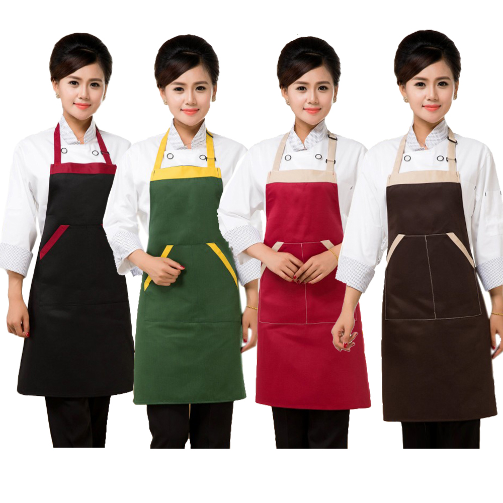 Contrast Color Chef Apron Double Shoulder Strap Sleeveless Apron Multi Color Unisex Free Size For Food Service Uniform Wearing(China (Mainland))