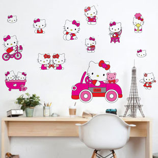 Free Shipping Cheap Kids Hello Kitty PVC Home stickers Wall Decal ,Wallpaper, Room Sticker, House Sticker LD673(China (Mainland))