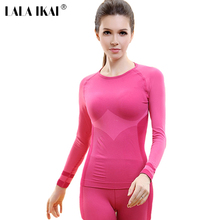 IKAI Brand Designer Women's Long Sleeve T-Shirt Running Fitness Thermal Clothing Tops Outdoor Exercise Tee Shirts HWD0007-5