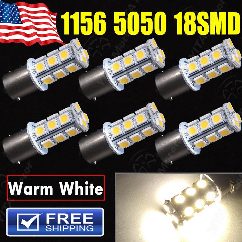 NEW 2015 led Car Light Source 6Pcs Warm White 1156 ba15s 18smd led Bulbs High Quality External Lights 12V 4000K Auto Rv Lamps(China (Mainland))