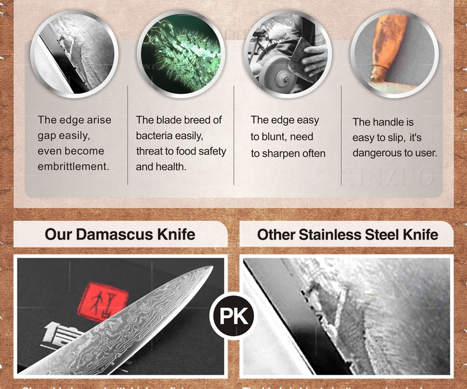 Buy XINZUO 2 pcs kitchen knives set Japanese Damascus kitchen knife professional chef utility knife Color wood handle free shipping cheap