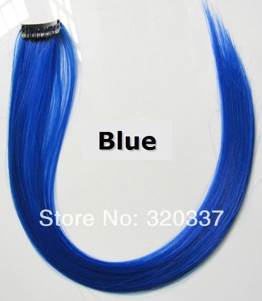 HOT Colorful Hair Extension Highlight Clip in Hair Extensions Colored Hair Synthetic Hair Extensions Clip on Hairpieces BLUE(China (Mainland))