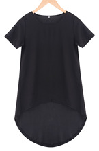 New Arrival Ladies Sexy Chiffon Short Sleeve T-Shirts Casual Loose Summer Tops Plus Size T-shirt(China (Mainland))