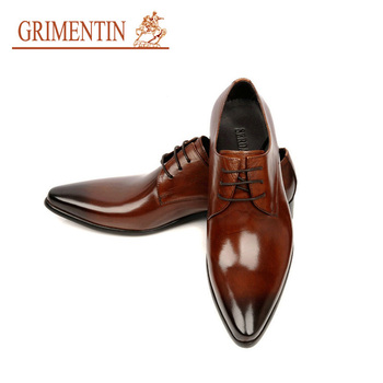 GRIMENTIN 2015 Italian luxury designer formal mens dress shoes genuine leather black basic flats for men wedding office size 11