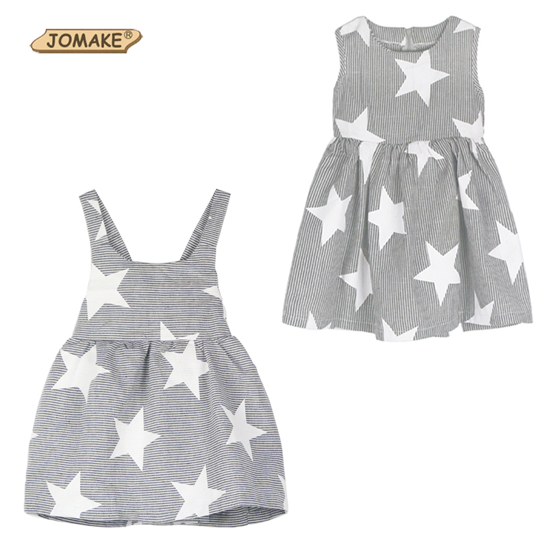 INS Hot Sale 2017 Summer Style Baby Girl Dress Striped Star Backless Strap Dress Toddler Kids Dresses for Girls Clothes Clothing(China (Mainland))