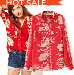 New Big Paragraph with Totem printing China Red Long-sleeved Lapel shirt Chiffon Women Clothes Free Shipping(China (Mainland))