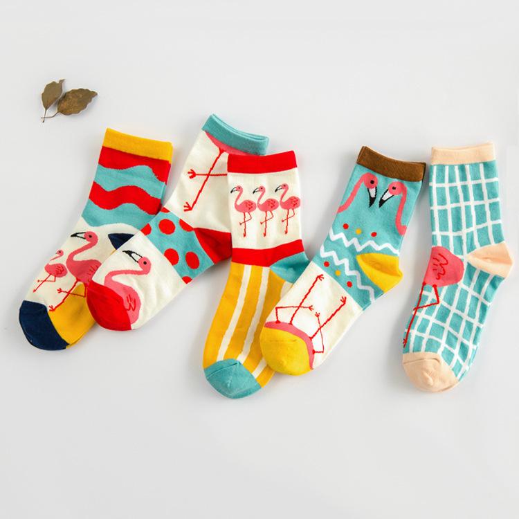 lady's socks How lovely the Flamingo cotton cotton socks dot wave cartoon creative socks(China (Mainland))
