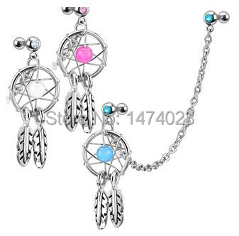 2014 fashion jewelry flower GEM dangle steel earrings industrial taper piercing dream catcher wholesale price 1.2*6*5*5(China (Mainland))