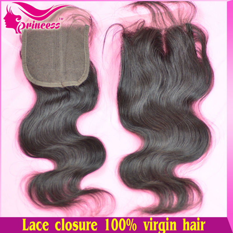 lace top closure swiss 4 inch*4 inch,virgin brazilian hair,natural color 1b,human hair,shedding tangle free. - Princess hair products co.,LTD store