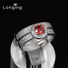 Longing S925 Sterling Silver Jewelry Ruby CZ Diamond Ring Sets Double Rings antique Wedding Jewelry For