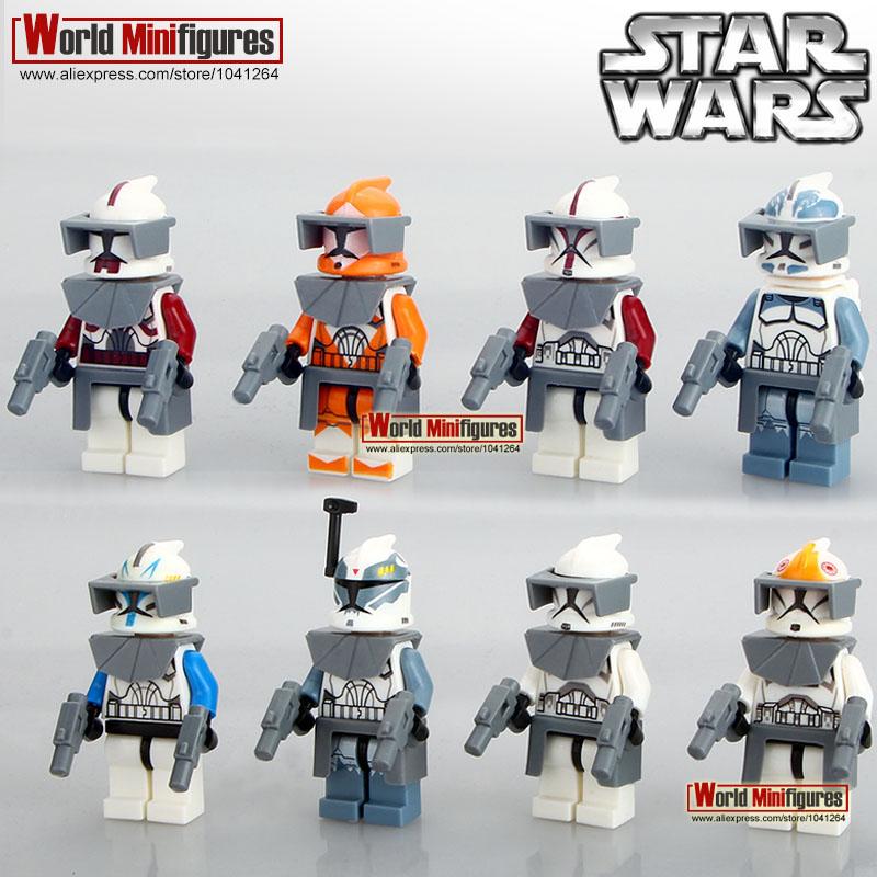 PG8002 Building Blocks 8pcs/lot Star Wars 7 The Force Awakens Clone Trooper Minifigures Commander Fox Rex Bricks Mini Figures(China (Mainland))