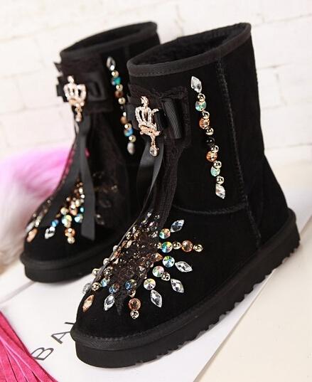 2015 NEW WOMEN winter luxury Genuine Leather diamond cowhide fur womens snow boots Rhinestone black 35-39 high qulaity boots <br><br>Aliexpress