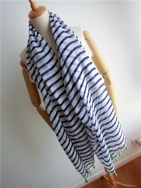 Оптовая продажа 2016 корея прилив новое белые синие полосы бахромой хлопка шарф солнцезащитный крем тонкий длинный шарф шаль бесплатная доставка