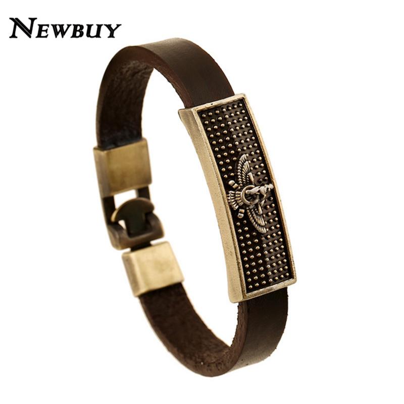 NEWBUY Brand Simple Design European & American Style Leather Charm Bracelet For Men Fashion Vintage Men Jewelry Bangles(China (Mainland))