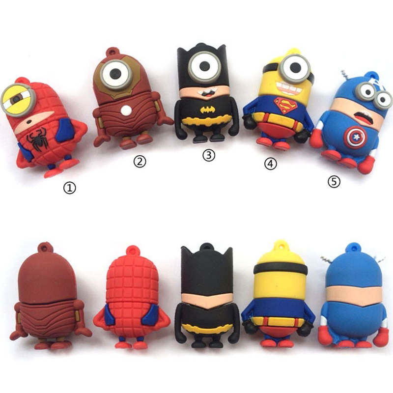 FULL capacity usb minion super hero man bat man usb flash drive 32GB 8GB 16GB 64GB 4GB Memory Stick Pen Drive usb 2.0(China (Mainland))