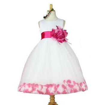 2015 новые зимние девушки одеваются девочки лепесток розы подол пачка цвет платья милые платье принцессы девушки детское платье